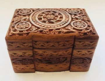 CARVED FLORAL with 2 COMPARTMENTS Jewellery Trinket Storage Organiser Box